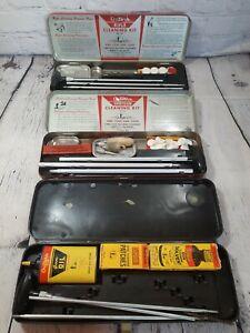 Vintage Outers Gunslick Shotgun & Rifle & 22 Cleaning Kit Lot/3 Case INCOMPLETE