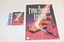 Final Fantasy Legend Nintendo Game Boy GB Manual & Map Poster - Used