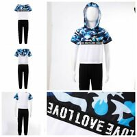 Kids Boys Summer Short Sleeves Suits Hooded Camouflage Tops+Pants Casual Clothes