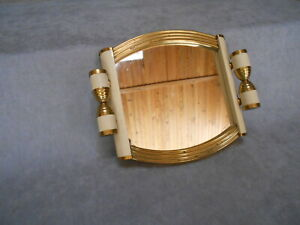 Art deco French Vintage  wood mirrored Tray Platter