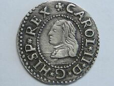 1675 REAL CROAT CHARLES II BARCELONA HIGH GRADE SPAIN SPANISH SILVER COIN