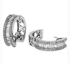 1.75ctw ROUND & BAGUETTE DIAMOND HOOP EARRINGS  14K WG