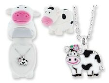 CHILD'S COW NECKLACE IN MATCHING VELOUR BOX (BN003)