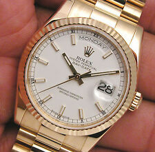 Rolex Day Date President 118238 White Index Dial 36mm 18k Yellow Gold Watch