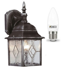 Outside Traditional lead effect wall lantern light fitting with LED Light Bulb