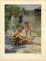 Im Bad Kunstdruck 1923 von Hermann Ebers Freibad Bademode Frauen Mädchen Strand