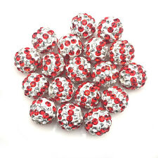 10Pcs Stripe Red Zebra Crystal Micro Pave Disco Bracelet Shamballa Beads Spacer