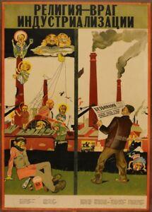 "Vintage Russian Propaganda Poster ""RELIGION: THE ENEMY OF INDUSTRIALISATION"""