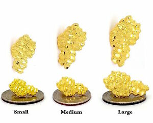 MENS HIP HOP 18K YELLOW GOLD FINISH 925 STERLING SILVER NUGGET STUD EARRINGS