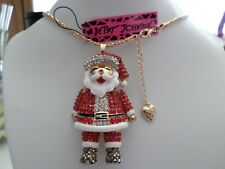 Betsey Johnson Santa Claus Pendant chain necklace   with gift box