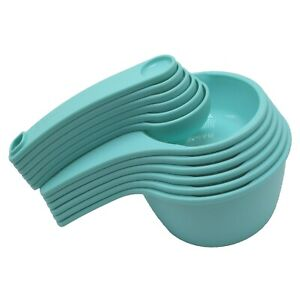 Tupperware Measuring Cups and Spoons Set Nesting Scoops Aruba Blue Green