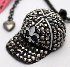 Betsey Johnson Necklace Black Silver Ball Cap Bling Drop Doodle Crystals