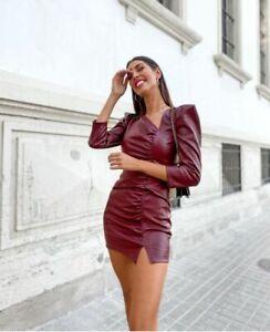 Zara Maroon Faux Leather Mini Dress Size XSMALL, SMALL, MEDIUM & LARGE BNWT