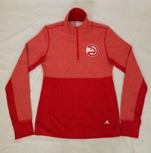 Womens Size Small Red Adidas Atlanta Hawks Basketball 1/4 Zip Sweatshirt