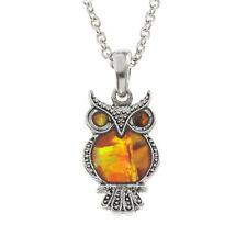 "Owl Necklace Orange Abalone Shell Pendant Womens Silver Fashion Jewellery 18"""