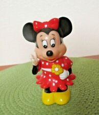 Small Minnie Mouse Bank Movable Arm and Head Red with White Polka Dot Dress