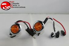 Dual Function Mini Amber Stainless Turn Signal Blinker Lights Truck Hot Rat Rod