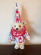 "Steiff Clown Teddy Golden Age of the Circus White Mohair 7"" LE 0163/20 1989 NEW"