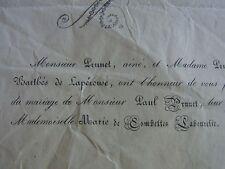 ANCIEN FAIRE PART MARIAGE 1843 de Paul PRUNET Petit neveu de J. F. DE LA PEROUSE