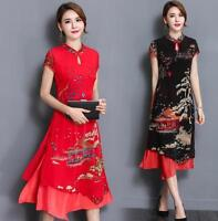 Spring Womens Cheongsam Chinese Long Elegant Evening Party QiPao Chiffon Dresses