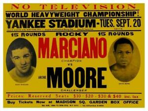 ROCKY MARCIANO  VS ARCHIE MOORE Mancave Pub Bar Gym  LARGE METAL TIN SIGN POSTER