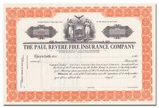 Paul Revere Fire Insurance Company Stock Certificate
