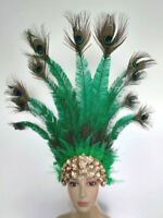 Nandu with Peacock  Plumes Feather Carnival  Headdress- Showgirl  MADE IN USA