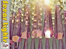 LILAC CHRISTMAS DECORATIONS 6 TREE DROPS CHANDELIER BEADS GLASS CRYSTAL DROPLETS