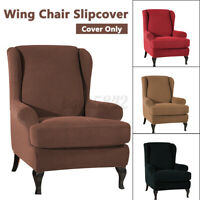 Elastic Fibre Armchair Wingback Slip Cover Wing Chair Cover Stretch
