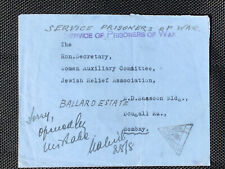 Holocaust 1942 Camp Devali To Bombay Service Prisoner Of War Very Rare + ScarceA