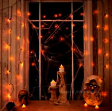 set of 2 HALLOWEEN PARTY/PROP Spooky Orange Halloween Curtain L.E.D Lights 50pk