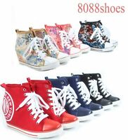 Womens Fashion High Top Lace Up Zipper Sneaker Wedges Boot Shoes Size 6 - 11 NEW