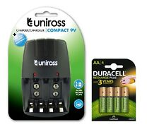 UNiROSS AA/AAA/PP3 9v COMPACT CHARGER 4 x AA DURACELL 1300 mAh RECHARGEABLE BATS