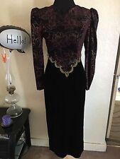 Scott Mcclintock Long Black Velvet Dress Open Back Glitter Gold/Burgundy Top S