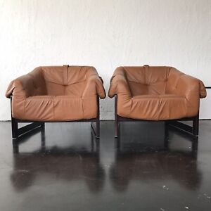 Mid Century Brazilian Lounge Chair Percival Lafer  Model MP-97 Rosewood Pair