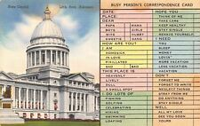 Little Rock AR~Busy Persons Correspondence Card~State Capitol~1940s Linen PC