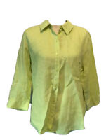 Chicos Womens Button Front Shirt Lime Green 3/4 Sleeve Collar No Iron Linen 1
