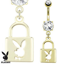 1 Pc Licensed PlayBoy Bunny W/ Die-Cut Lock Gold Plated Belly Ring 14g 3/8""
