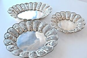 3 ANTIQUE OPEN WORK CHINESE EXPORT SILVER TRAY DISH BASKET 1291 gr CHINA 1900