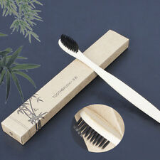 Medium-Bristle Bamboo Toothbrush Rainbow Wood Teeth Brush Fibre WoodenHand-Black