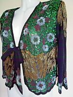 NEW PRETTY SEQUIN JACKET WEDDING TOP CARDIGAN BLACK PARTY BLAZER SEQUINNED SMART