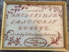 Antique sampler, 1808 - very finely worked. Amalie Henrietta Hausding / Haufding