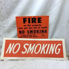 2 Vintage Paper Signs No Smoking