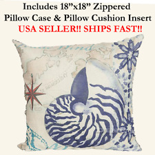 "18x18 18"" 18in Nautical Seashell Marine Life Zipper Throw Pillow Case & Cushion"