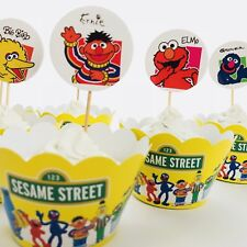 12x Sesame Street Cupcake Topper + Wrapper. Party Supplies Lolly Bag Elmo Cookie