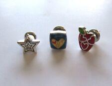 Brighton Push Pins- Set of Three- star apple heart- blue yellow red silver