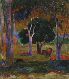 Paul Gauguin Landscape with Pig and Horse Poster Giclee Canvas Print