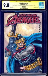 New Avengers #1 CGC SS 9.8 signed BLACK KNIGHT ORIGINAL SKETCH Al Milgrom LYDIC