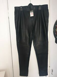 Ladies BNWT Leather Look Trousers Size 16