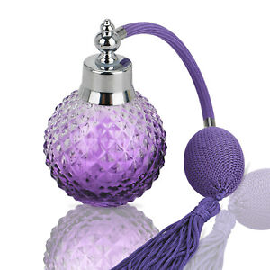 Vintage 100ml Crystal Perfume Bottle Purple Spray Atomizer Refillable Glass Gift